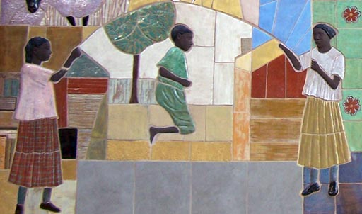 Detail from Rockville mural: ropeskipping children