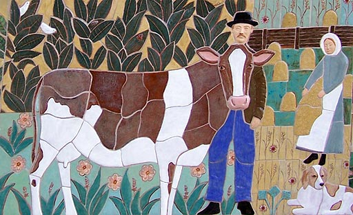 Detail from Rockville mural: farmer and cow